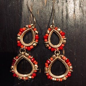 Red and gold beaded dangle earrings